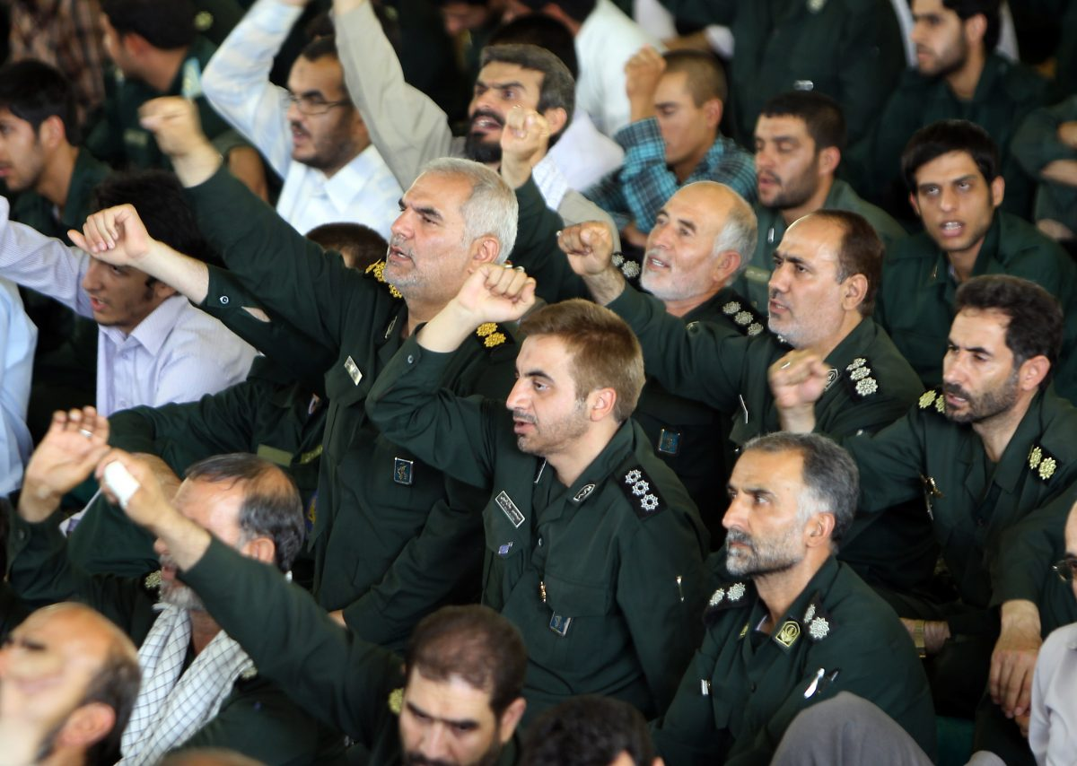 Members of the Iranian revolutionary guards shout anti-Israeli and anti-US slogans during the weekly Friday prayers at Tehran University in the Iranian capital on July 16, 2010. (Atta Kenare/AFP/Getty Images)