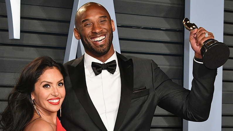 Kobe Bryant and his wife and his Oscar