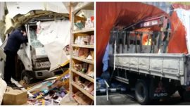 Truck Crashes Into Supermarket During Business Hours