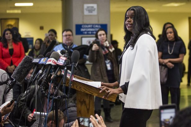 Cook County State's Attorney Kim Foxx speaks to reporters at the Leighton Criminal Courthouse
