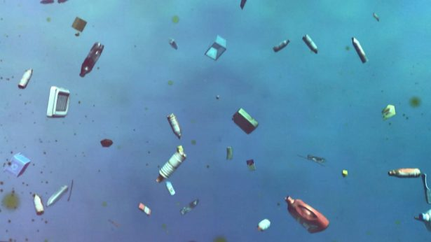 Video projection of polluted ocean at museum of plastic