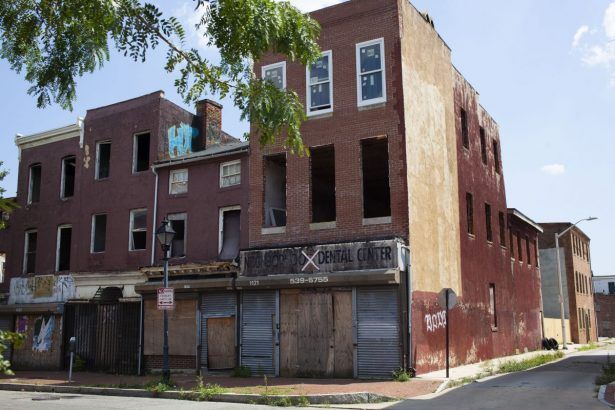 Buildings on a street in west Baltimore