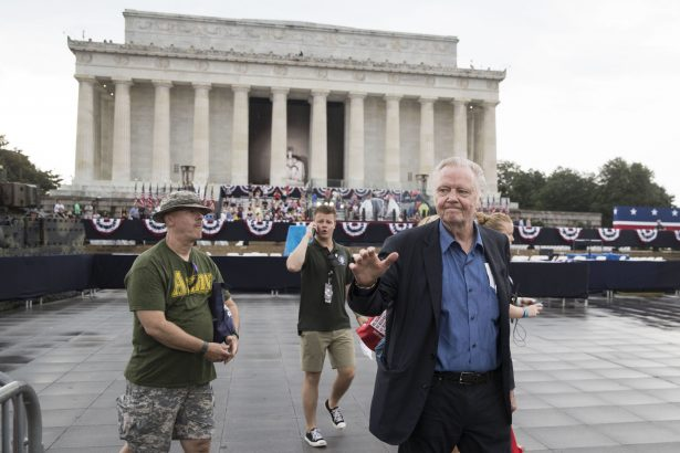 """Actor Jon Voight greets crowds during the opening festivities of President Donald Trump's """"Salute to America"""" ceremony in front of the Lincoln Memorial"""