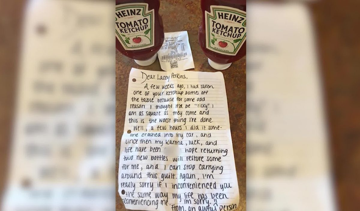 A note from a Heinz ketchup thief