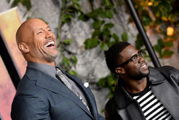 Dwayne Johnson (L) and Kevin Hart attend the 'Jumanji: Welcome To The Jungle' UK premiere