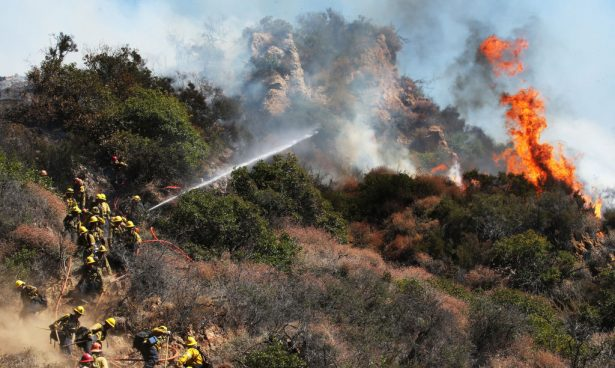 Firefighters work during the Palisades Fire, in the Pacific Palisades neighborhood, on October 21, 2019 in Los Angeles, California. (Mario Tama/Getty Images)