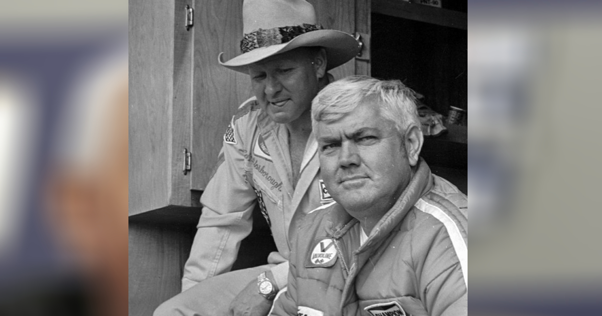 driver Cale Yarborough, left, and his team owner, former driver Junior Johnson