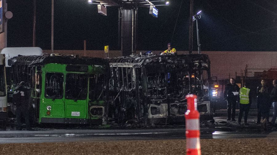 Three Passenger Buses Catch Fire at LA International Airport