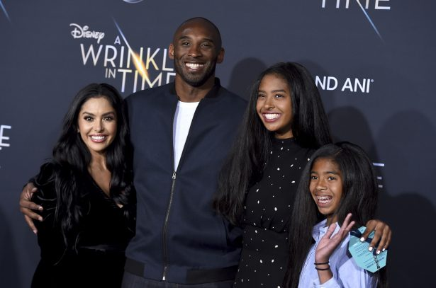 """Vanessa Bryant, from left, Kobe Bryant, Natalia Bryant and Gianna Maria-Onore Bryant at the world premiere of """"A Wrinkle"""