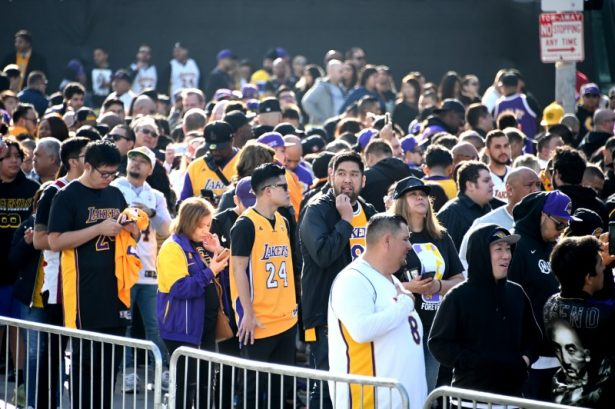 Fans line up outside to Staples Center