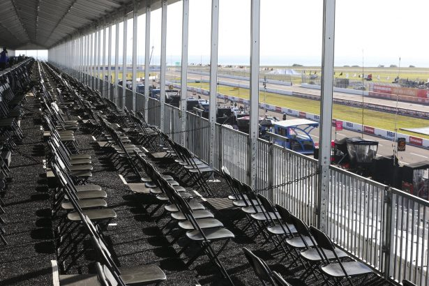 The spectator VIP area overlooking pit lane is virtually empty during the opening day of the Firestone Grand Prix of St. Petersburg