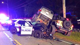 Traffic Collision Involving 3 SUVs Wounds Officer, 2 Others Hospitalized With Major Injuries