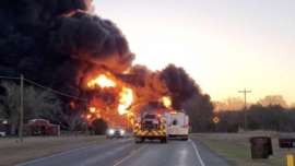 Large Explosion Reported After Train Carrying Petroleum Collides With 18-wheeler in Texas