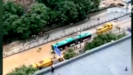 60-Foot-Bus Submerged in Central China Flood