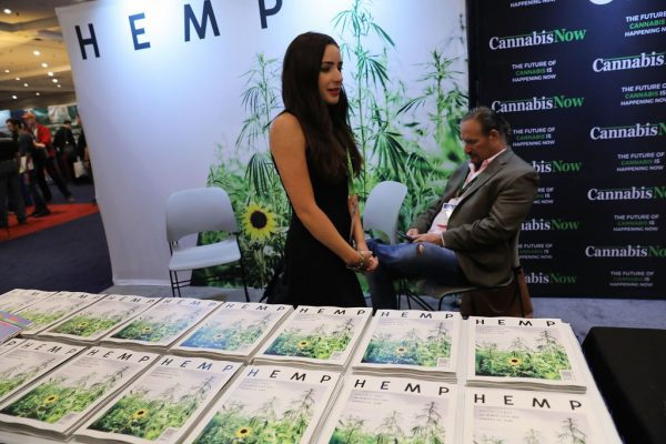 Copies of Hemp magazine are displayed at the Cannabis World Congress Conference