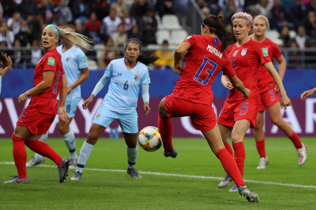 Alex Morgan of the USA scores her team's fifth goal