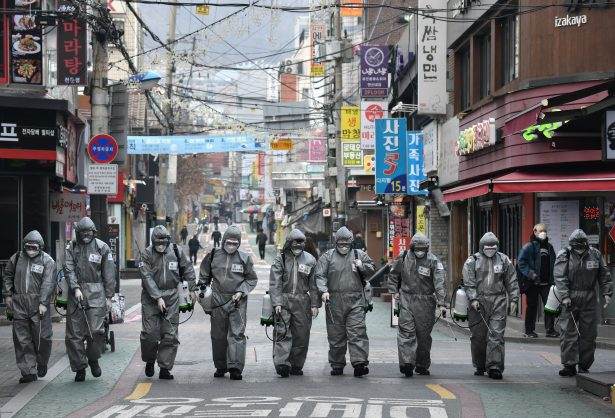 South Korean soldiers wearing protective gear