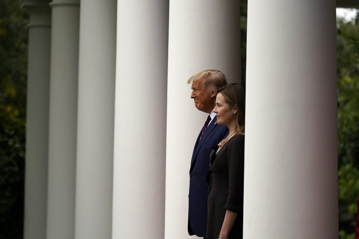 Trump walks with Judge Amy Coney Barrett