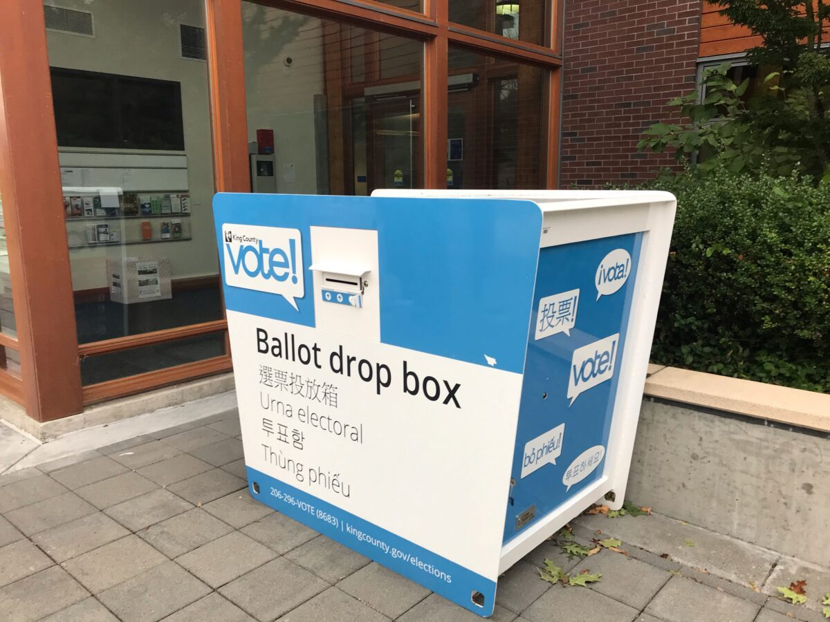 A ballot drop box is seen in King County, Seattle